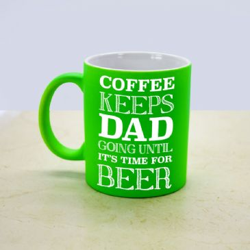 Coffee & Beer Loving Dad Matte Coloured Mug